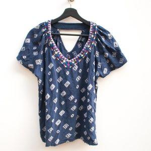 Lucky Brand | V-Neck Navy Embroidered Boho Blouse